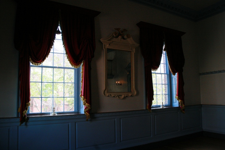 Windows of the haunted ballroom.  The woodwork has all been recreated as the original moldings live at Metropolitan Museum of Art's American Wing.