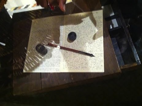 Her writing desk on its world tour with her relics at the The Basilica of the National Shrine of the Immaculate Conception.